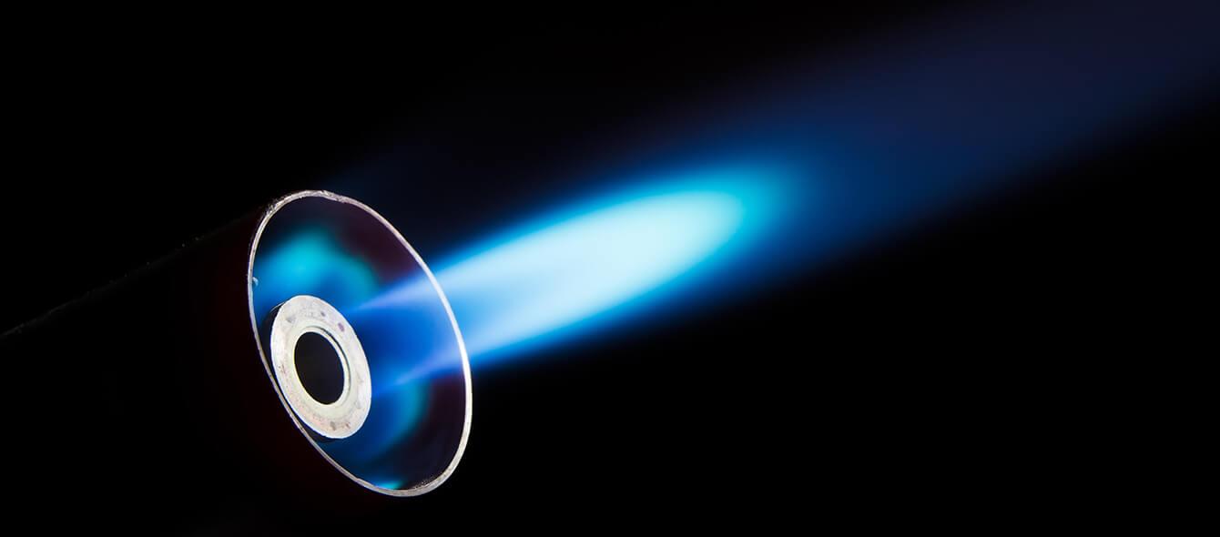 Stimmungsbild Brenntstoff Erdgas blaue Gasflamme
