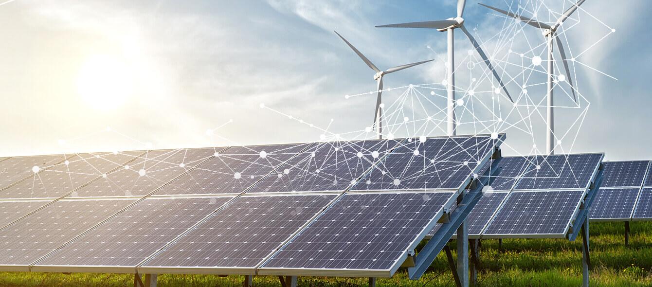 Projekt Quirinus Collage Solarpanels Windkraftanlage und abstrakte Netzstruktur