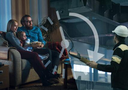 Versorgungssicherheit im enformer Stimmungdbild Collage Familie auf Sofa und Arbeiter