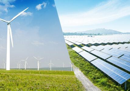 enformer Collage erneuerbare Energien Windkraft und Photovoltaik