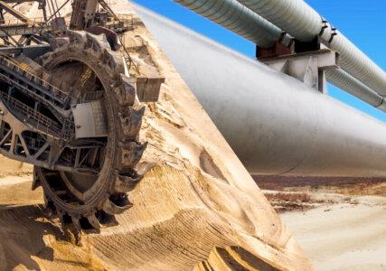 Collage Technologie Schaufelradbagger Tagebau Gasleitung
