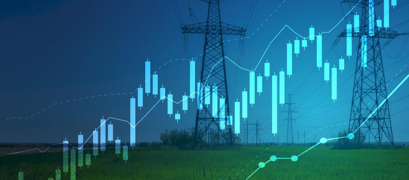 Stimmungsbild steigender Strompreis Strommaste Diagramm