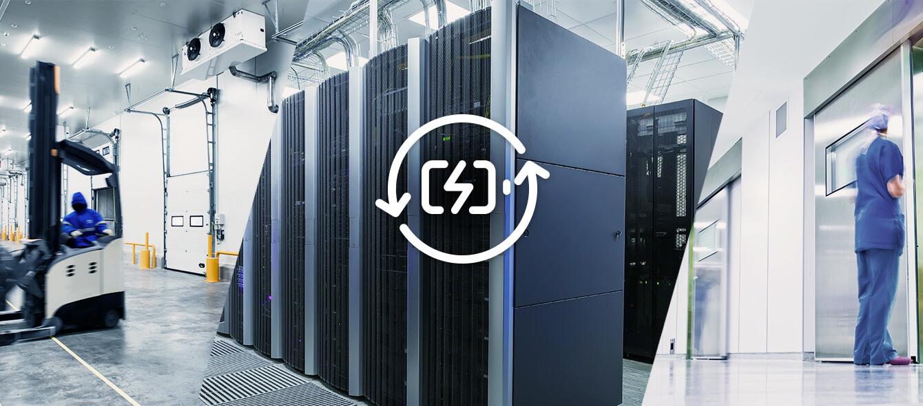 Versorgungssicherheit im enformer Collage Serverhardware in Rechenzentrum und Symbol Energiespeicher