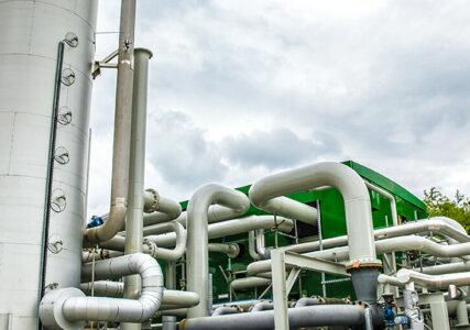 Energiespeicher im enformer Bildausschnitt Flüssigluftspeicher im Freien