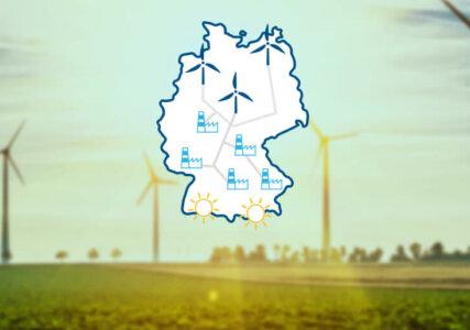 Netzausbau im enformer abstrakte Darstellung des Versorgungsnetzes auf Deutschlandkarte vor verschwommenem Hintergrund mit Windpark