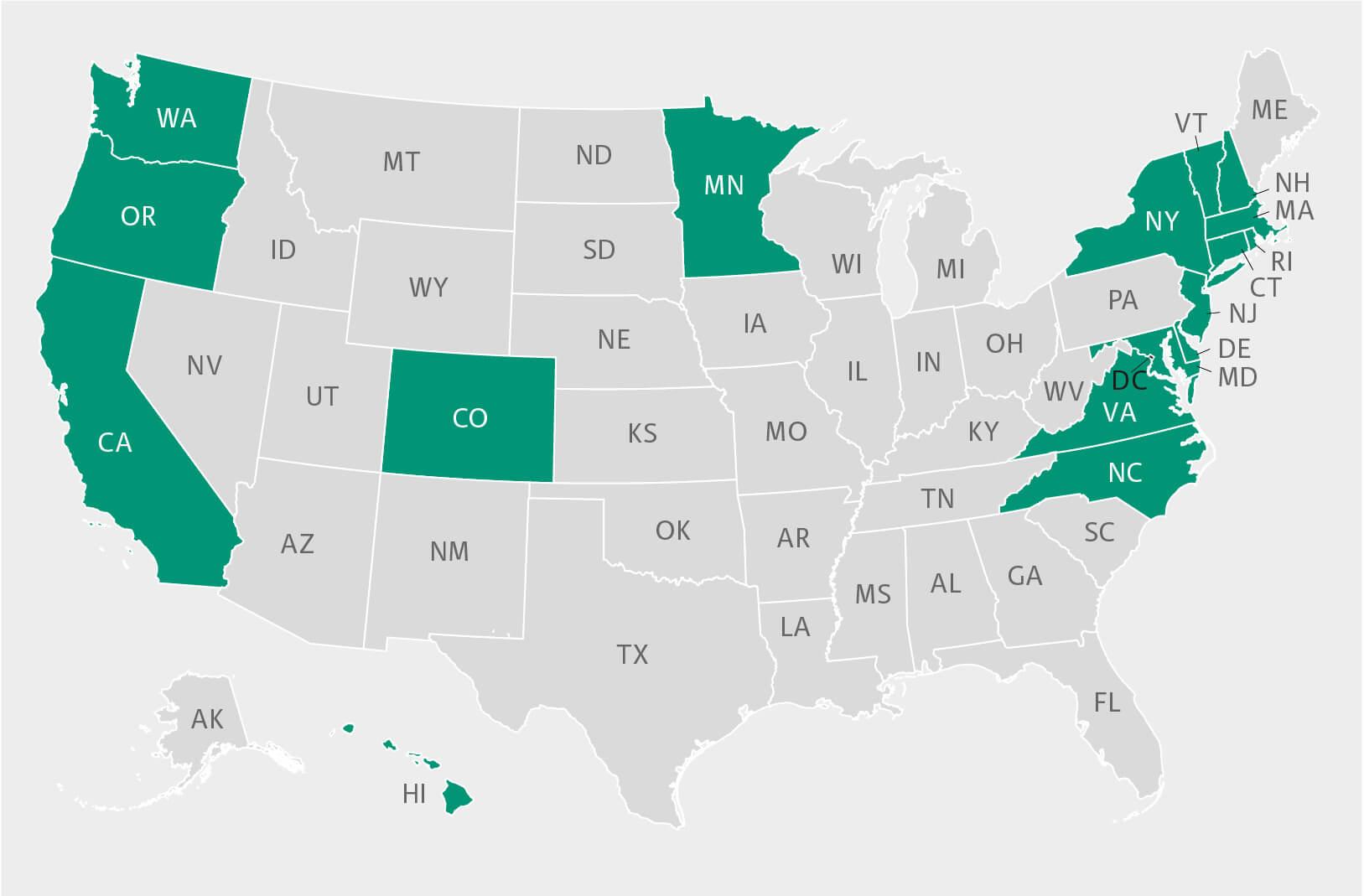 Karte der USA mit Markierung der US Bundesstaaten mit freiwilliger Verpflichtung zur Reduktion der Treibhausgasemissionen nach dem Pariser Klimaabkommen