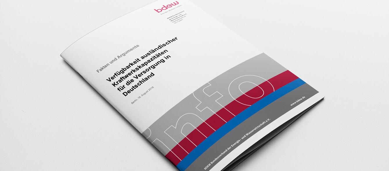 Cover BDEW Studie Verfügbarkeit ausländischer Kraftwerkskapazitäten für die Versorgung in Deutschland