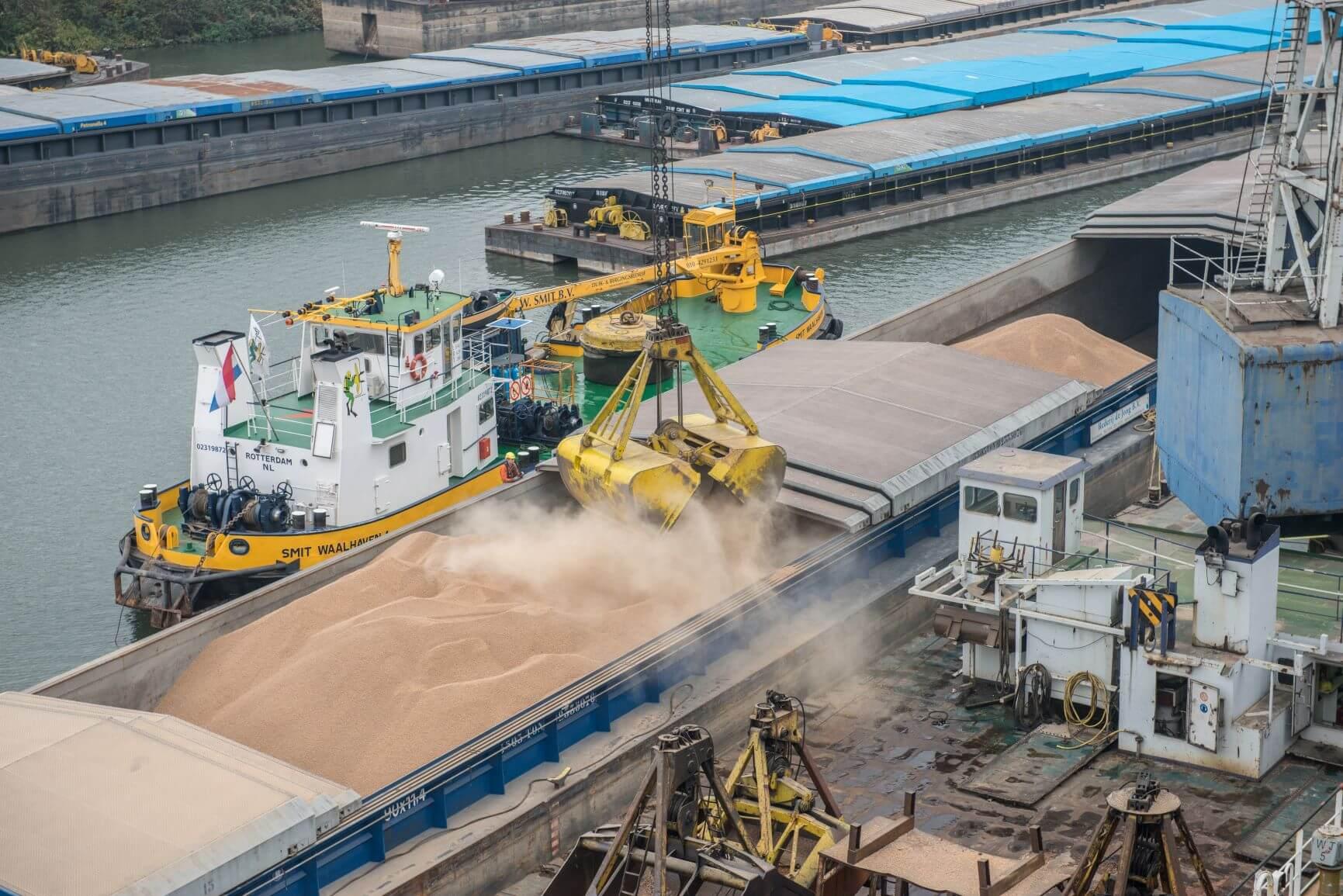 Biomasse wird von einem Schiff entladen