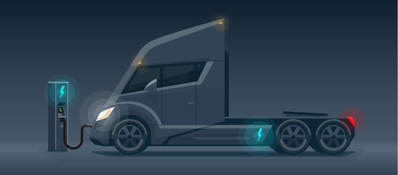 Schematische Darstellung eines elektrisch betriebenen LKW an einer Ladestation