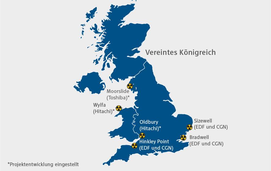 Energiewirtschaft im enformer Karte zu geplanten Kernkraftwerken in Großbritannien blau auf weißem Hintergrund
