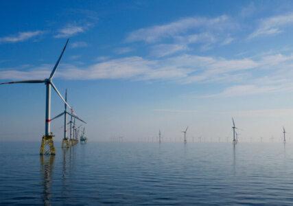 Stromerzeugung im enformer Windkraftanlagen in der Nordsee