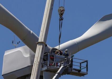 Windkraftanlage in der Wartung