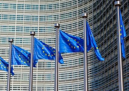 Blaue Europafahnen in Reihe vor dem EU-Parlament