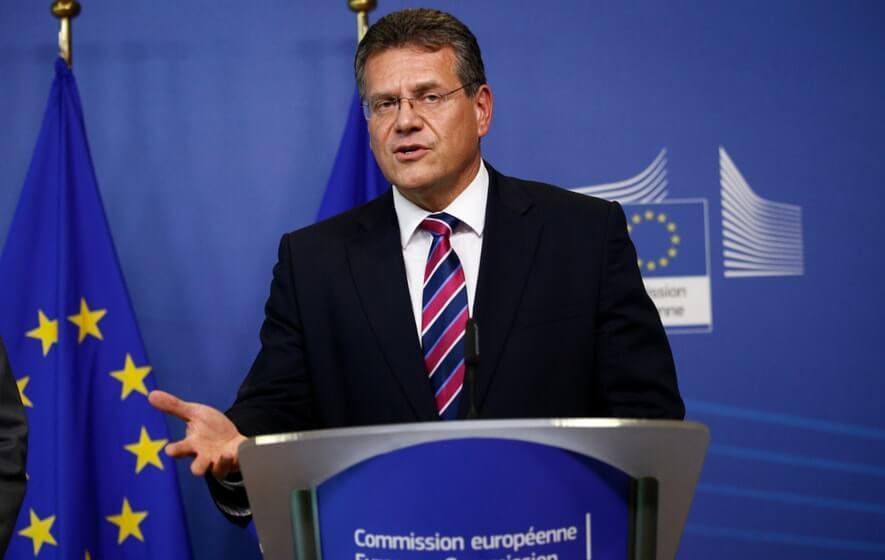Maros Sefcovic am Rednerpult für die Energie-Union